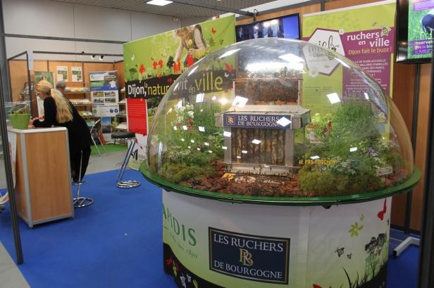 Le stand de Dijon lors des Assises, hébergeait une superbe ruche sous cloche. La ville et le Grand Dijon, co-organisateurs de la manifestation, produisent d'ailleurs leur propre miel grâce à une centaine de ruches implantées en ville.