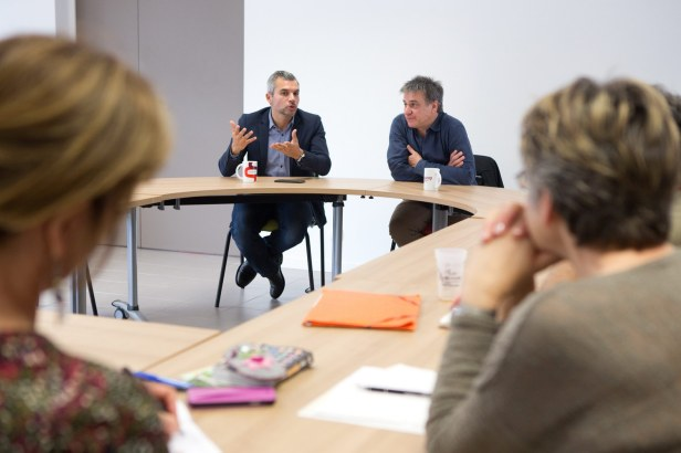 Côte-d'Or, Dijon, 25/05/2016 - Rencontre avec Fabrice Azevedo (directeur de l'URSCOP Bourgogne Franche-Comté) et Rémi Roux (président de l'URSCOP Midi-Pyrénées) organisée par l'association Equi'Max.